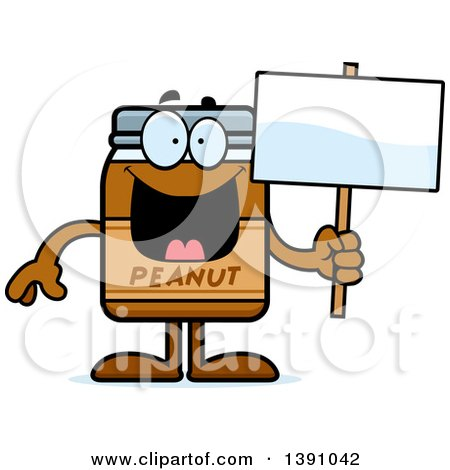 Clipart of a Cartoon Peanut Butter Jar Mascot Character Holding a Blank Sign - Royalty Free Vector Illustration by Cory Thoman