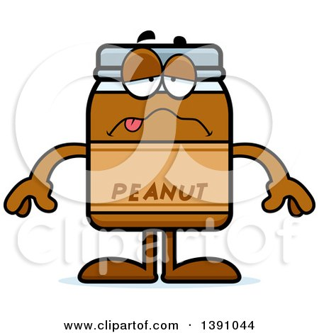 Clipart of a Cartoon Sick Peanut Butter Jar Mascot Character - Royalty Free Vector Illustration by Cory Thoman