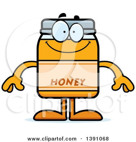 Clipart Of A Cartoon Happy Honey Jar Mascot Character Royalty Free Vector Illustration