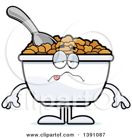 Clipart of a Cartoon Sick Bowl of Corn Flakes Breakfast Cereal Character - Royalty Free Vector Illustration by Cory Thoman
