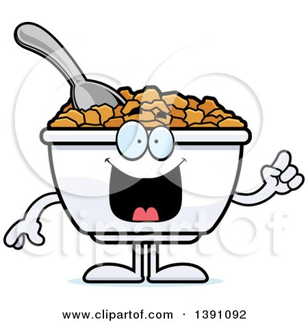 Clipart of a Cartoon Friendly Waving Bowl of Corn Flakes Breakfast Cereal Character - Royalty Free Vector Illustration by Cory Thoman