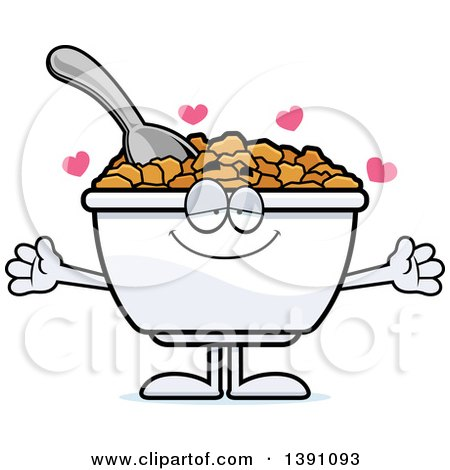 Clipart of a Cartoon Loving Bowl of Corn Flakes Breakfast Cereal Character Wanting a Hug - Royalty Free Vector Illustration by Cory Thoman