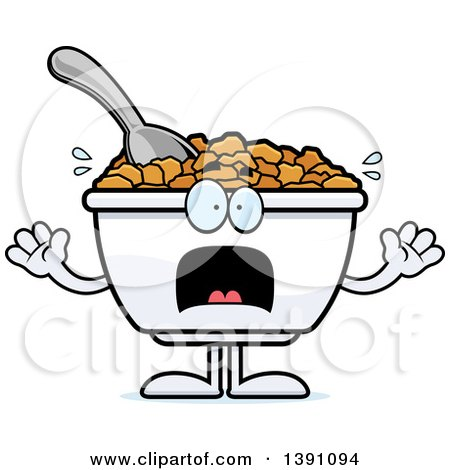 Clipart of a Cartoon Scared Bowl of Corn Flakes Breakfast Cereal Character - Royalty Free Vector Illustration by Cory Thoman
