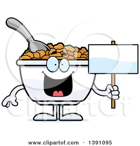 Clipart of a Cartoon Bowl of Corn Flakes Breakfast Cereal Character Holding a Blank Sign - Royalty Free Vector Illustration by Cory Thoman