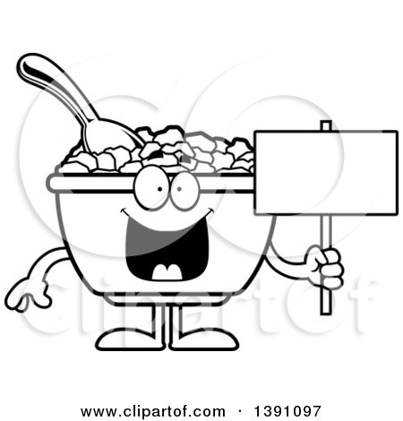 Clipart of a Cartoon Black and White Lineart Bowl of Corn Flakes Breakfast Cereal Character Holding a Blank Sign - Royalty Free Vector Illustration by Cory Thoman