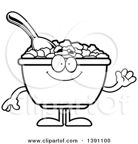 Clipart of a Cartoon Black and White Lineart Friendly Waving Bowl of Corn Flakes Breakfast Cereal Character - Royalty Free Vector Illustration by Cory Thoman