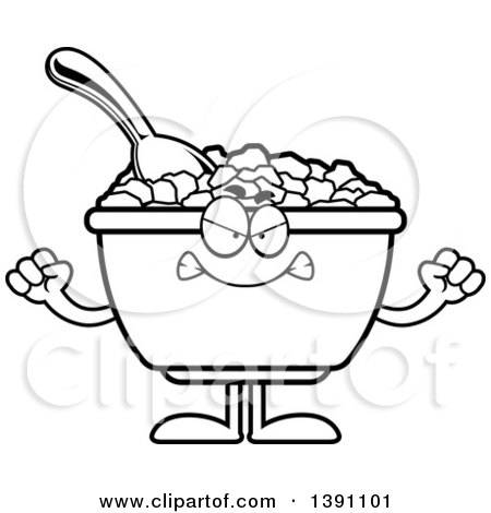 Clipart of a Cartoon Black and White Lineart Mad Bowl of Corn Flakes Breakfast Cereal Character - Royalty Free Vector Illustration by Cory Thoman
