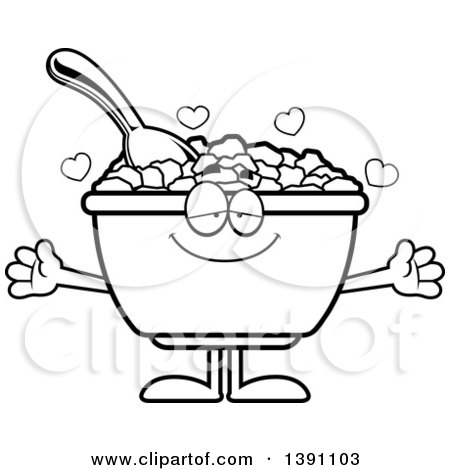 Clipart of a Cartoon Black and White Lineart Loving Bowl of Corn Flakes Breakfast Cereal Character Wanting a Hug - Royalty Free Vector Illustration by Cory Thoman