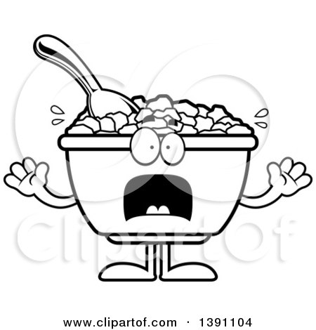 Clipart of a Cartoon Black and White Lineart Scared Bowl of Corn Flakes Breakfast Cereal Character - Royalty Free Vector Illustration by Cory Thoman