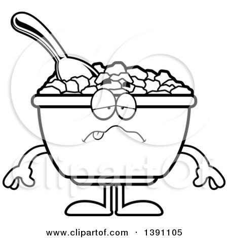 Clipart of a Cartoon Black and White Lineart Sick Bowl of Corn Flakes Breakfast Cereal Character - Royalty Free Vector Illustration by Cory Thoman