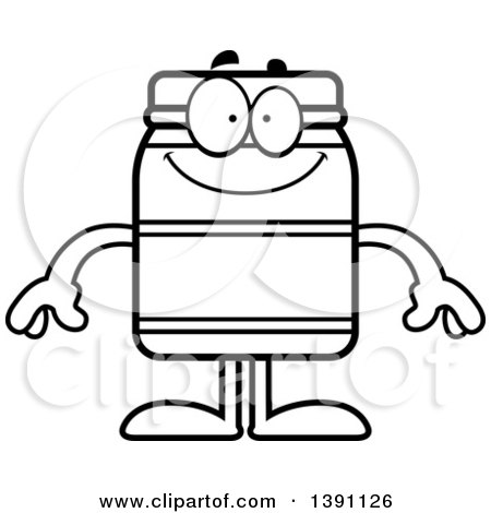 Clipart of a Cartoon Black and White Lineart Happy Jam Jelly Peanut Butter or Honey Jar Mascot Character - Royalty Free Vector Illustration by Cory Thoman