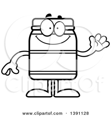 Clipart of a Cartoon Black and White Lineart Friendly Waving Jam Jelly Peanut Butter or Honey Jar Mascot Character - Royalty Free Vector Illustration by Cory Thoman