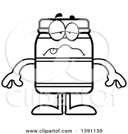 Clipart of a Cartoon Black and White Lineart Sick Jam Jelly Peanut Butter or Honey Jar Mascot Character - Royalty Free Vector Illustration by Cory Thoman