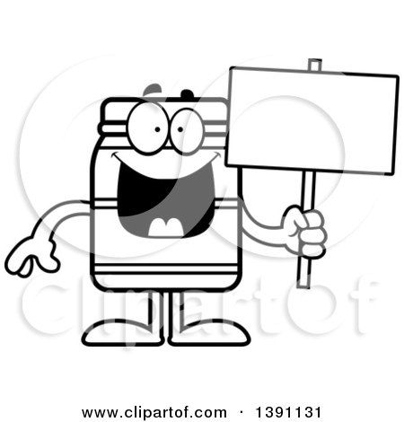 Clipart of a Cartoon Black and White Lineart Jam Jelly Peanut Butter or Honey Jar Mascot Character Holding a Blank Sign - Royalty Free Vector Illustration by Cory Thoman