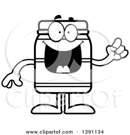 Clipart of a Cartoon Black and White Lineart Jam Jelly Peanut Butter or Honey Jar Mascot Character with an Idea - Royalty Free Vector Illustration by Cory Thoman