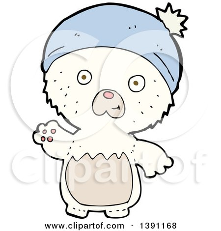 Clipart of a Cartoon Polar Bear Wearing a Hat - Royalty Free Vector Illustration by lineartestpilot