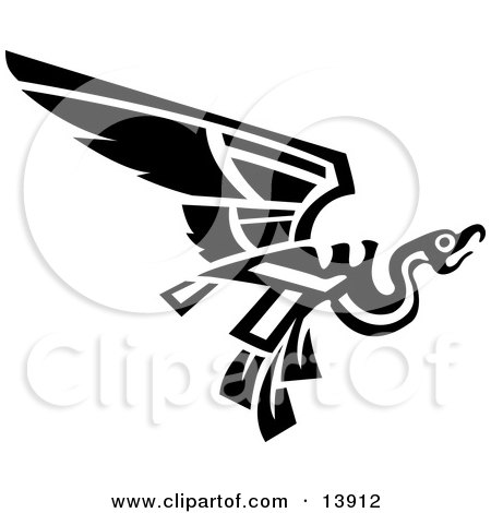 Flying Mayan or Aztec Bird Design in Black and White Posters, Art Prints