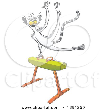 Clipart of a Sporty Athletic Gymnast Lemur on a Pommel Horse - Royalty Free Vector Illustration by Zooco