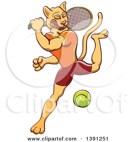 Clipart of a Sporty Athletic Puma Cougar Mountain Lion Swinging at a Tennis Ball - Royalty Free Vector Illustration by Zooco