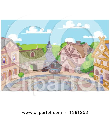 Clipart of a Courtyard and Cute Little Town on a Sunny Day - Royalty Free Vector Illustration by Pushkin