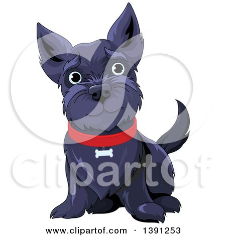 Clipart of a Cute Black Happy Scottish Terrier Dog Sitting and Wearing a Red Collar - Royalty Free Vector Illustration by Pushkin
