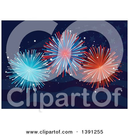 Clipart of Firework Explosions over Dark Blue American Waves and Stars - Royalty Free Vector Illustration by Pushkin