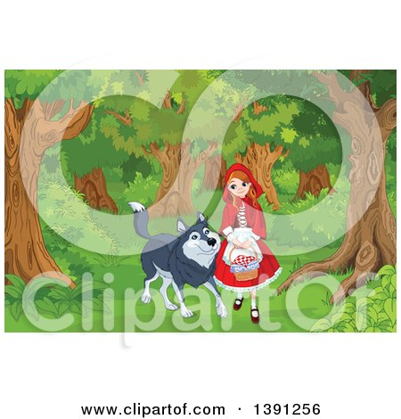 Clipart Of A Friendly Wolf Walking With Little Red Riding