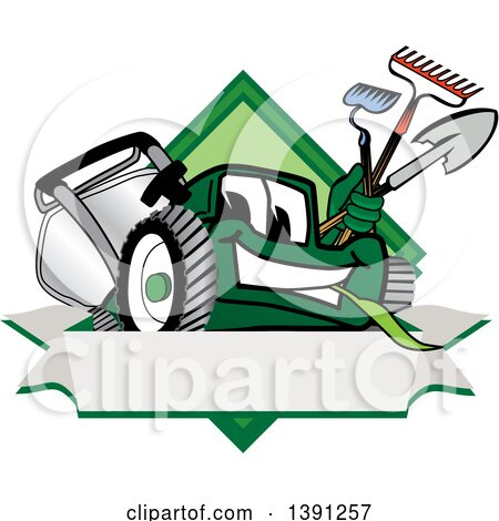 Clipart of a Green Lawn Mower Mascot Character Holding Tools over a Blank Label - Royalty Free Vector Illustration by Toons4Biz