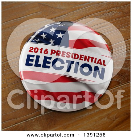 Clipart of a 3d 2016 Presidential Election Political Button Pin over Wood - Royalty Free Illustration by stockillustrations