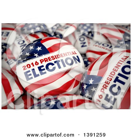 Clipart of 3d 2016 Presidential Election Political Button Pins in a Box - Royalty Free Illustration by stockillustrations