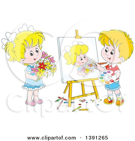 Clipart of a Cartoon Blond White Artist Boy Painting a Portrait of a Girl Holding Flowers - Royalty Free Vector Illustration by Alex Bannykh