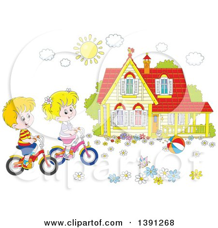 Clipart of a Cartoon White Boy and Girl Riding Bikes in Front of Their Home on a Spring Day - Royalty Free Vector Illustration by Alex Bannykh