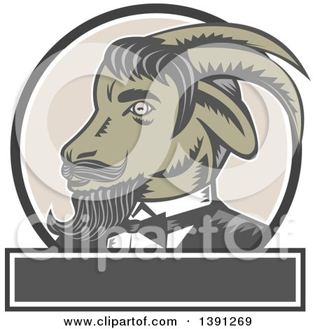 Clipart of a Retro Woodcut Ram Goat in a Tuxedo, in a Circle over a Blan Rectangle - Royalty Free Vector Illustration by patrimonio