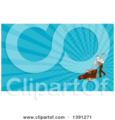 Retro Woodcut Male Landscaper Carrying a Rake and Pushing a Lawn Mower and Blue Rays Background or Business Card Design Posters, Art Prints