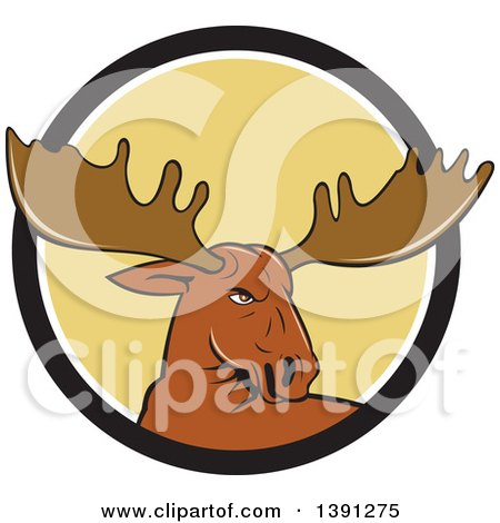 Clipart of a Cartoon Moose Head Emerging from a Black White and Yellow Circle - Royalty Free Vector Illustration by patrimonio