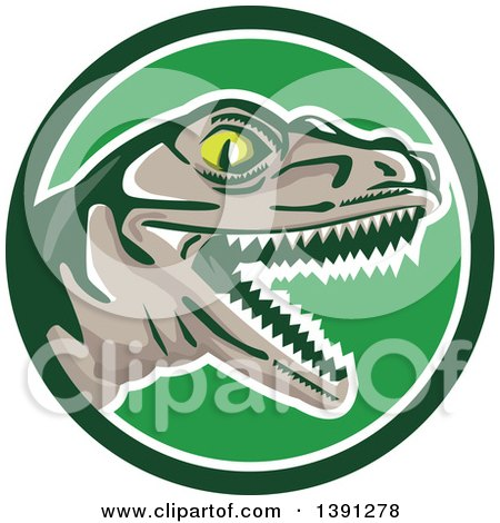 Clipart of a Retro Lizard, Rator or Tyrannosaurus Rex Head in a Green and White Circle - Royalty Free Vector Illustration by patrimonio