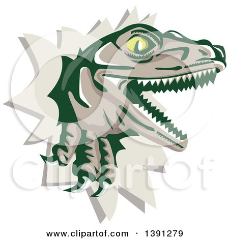 Clipart of a Retro Lizard, Rator or Tyrannosaurus Rex Breaking Through a Wall - Royalty Free Vector Illustration by patrimonio