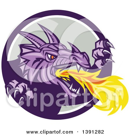 Clipart of a Retro Fire Breathing Dragon Emerging from a Purple White and Gray Circle - Royalty Free Vector Illustration by patrimonio