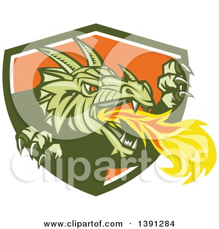Clipart of a Retro Fire Breathing Dragon Emerging from a Green White and Shield - Royalty Free Vector Illustration by patrimonio