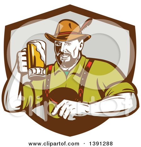Clipart of a Retro German Man Wearing Lederhosen and Raising a Beer Mug for a Toast, Emerging from a Brown and Gray Shield - Royalty Free Vector Illustration by patrimonio