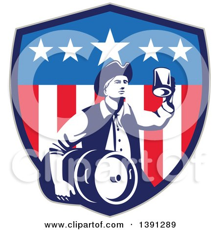 Clipart of a Retro American Patriot Man Carrying a Beer Keg and Holding up a Mug in an American Shield - Royalty Free Vector Illustration by patrimonio