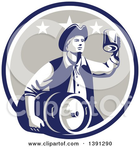 Clipart of a Retro American Patriot Man Carrying a Beer Keg and Holding up a Mug in a Blue White and Taupe Circle - Royalty Free Vector Illustration by patrimonio