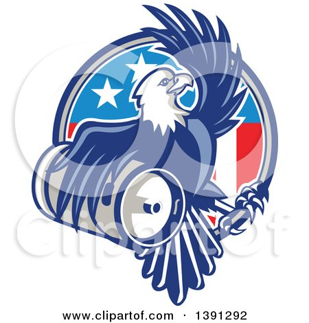 Clipart of a Retro Bald Eagle Holding a Beer Keg and Emerging from an American Circle - Royalty Free Vector Illustration by patrimonio