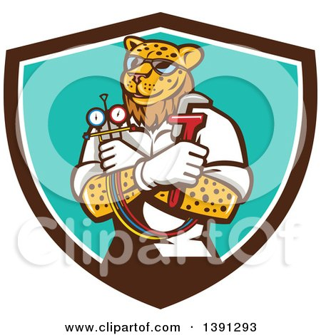 Clipart of a Cartoon Refrigeration and Air Conditioning Mechanic Leopard Holding a Pressure Temperature Gauge and Monkey Wrench in a Shield - Royalty Free Vector Illustration by patrimonio