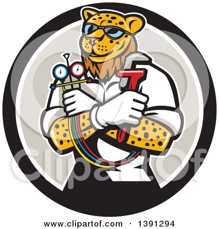 Clipart of a Cartoon Refrigeration and Air Conditioning Mechanic Leopard Holding a Pressure Temperature Gauge and Monkey Wrench in a Circle - Royalty Free Vector Illustration by patrimonio