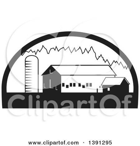 Clipart of a Black and White Silo, Barn and Shed in a Half Circle - Royalty Free Vector Illustration by patrimonio