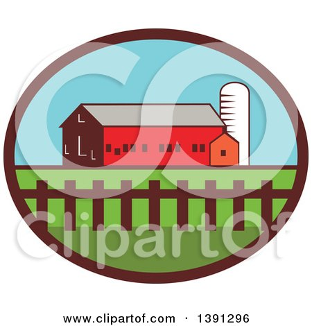 Clipart of a Silo, Barn and Shed in an Oval - Royalty Free Vector Illustration by patrimonio