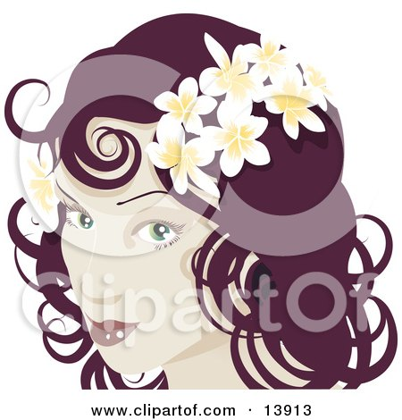 Pretty Red Haired Woman Wearing Frangipani Flowers in Her Hair Posters, Art Prints