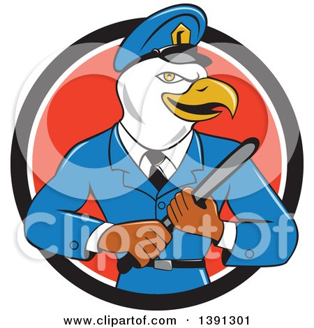 Clipart of a Cartoon Bald Eagle Police Officer Man Holding a Baton in a Black White and Red Circle - Royalty Free Vector Illustration by patrimonio