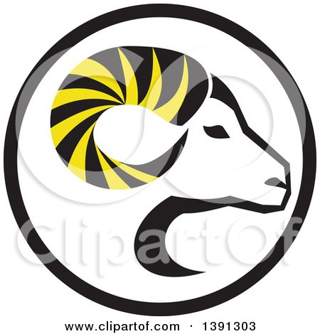 Clipart of a Retro Profiled Dall Sheep Ram Head with Curling Horns in a Circle - Royalty Free Vector Illustration by patrimonio
